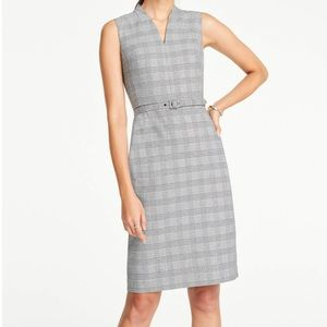 Ann Taylor Glen Plaid Belted Sleeveless Dress